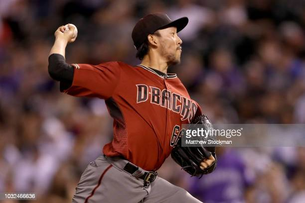 Pitcher Yoshihisa Hirano of the Arizona Diamondbacks throws in the ninth inning against the Colorado Rockies at Coors Field on September 12 2018 in...