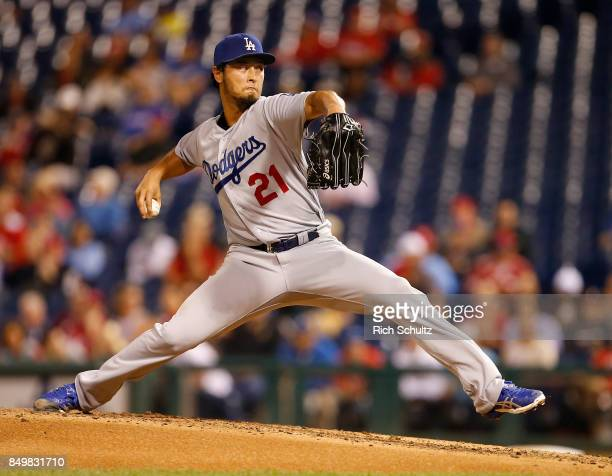 Pitcher Yu Darvish of the Los Angeles Dodgers delivers a pitch during the fifth inning of a game against the Philadelphia Phillies at Citizens Bank...