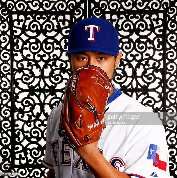 Pitcher Yu Darvish of the Texas Rangers poses during a spring training photo shoot on February 28 2016 in Surprise Arizona