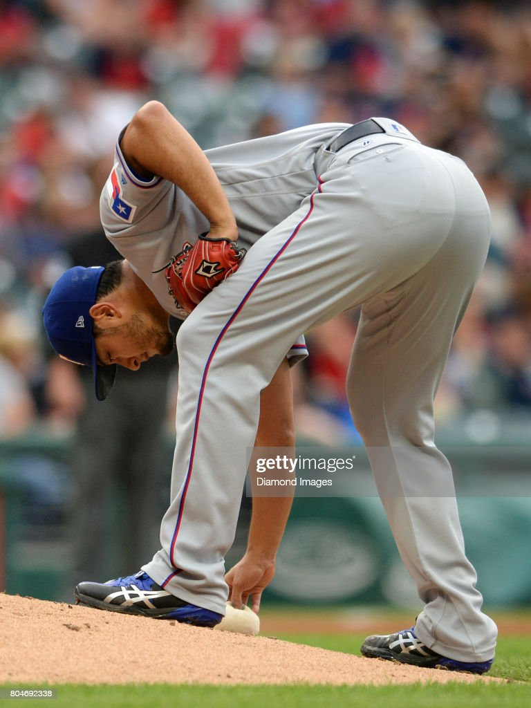 Pitcher Yu Darvish Of The Texas Rangers Touches Rosin