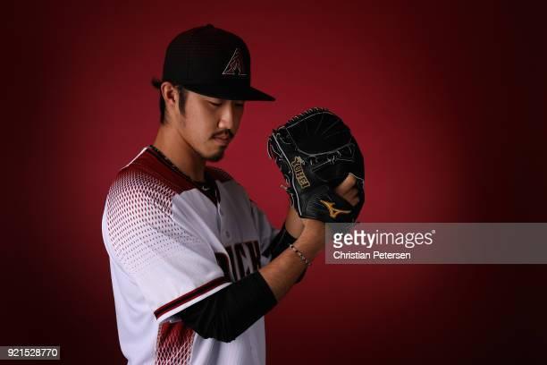 Pitcher Yuhei Nakaushiro of the Arizona Diamondbacks poses for a portrait during photo day at Salt River Fields at Talking Stick on February 20 2018...