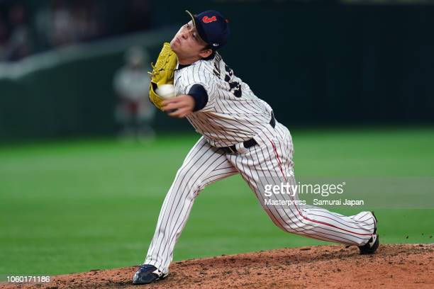 Pitcher Yuhei Takanashi of Japan throws in the top of 8th inning during the game three of Japan and MLB All Stars at Tokyo Dome on November 11 2018...