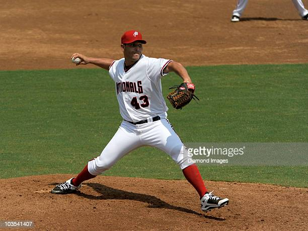 Pitcher Yunesky Maya of the Potomac Nationals throws a pitch during the top of the first inning of his first start in the Carolina League and a game...