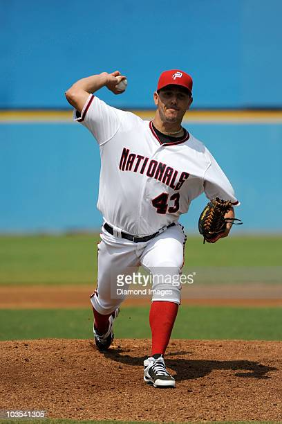 Pitcher Yunesky Maya of the Potomac Nationals throws a pitch prior to the top of the first inning of his first start in the Carolina League and a...