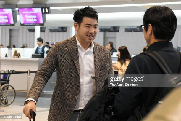 Pitcher Yusei Kikuchi is seen on departure for the United States at Narita International Airport on December 16 2018 in Narita Chiba Japan