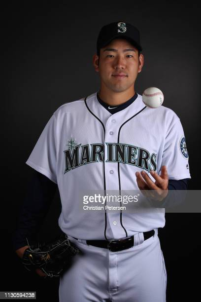 Pitcher Yusei Kikuchi of the Seattle Mariners poses for a portrait during photo day at Peoria Stadium on February 18 2019 in Peoria Arizona
