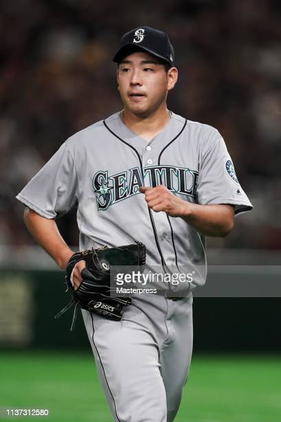 Pitcher Yusei Kikuchi of the Seattle Mariners reacts after the 3rd inning during the game between Seattle Mariners and Oakland Athletics at Tokyo...