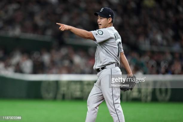 Pitcher Yusei Kikuchi of the Seattle Mariners reacts in the 4th inning during the game between Seattle Mariners and Oakland Athletics at Tokyo Dome...