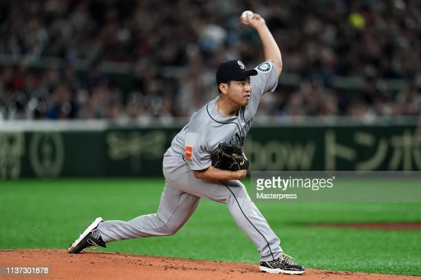 Pitcher Yusei Kikuchi of the Seattle Mariners throws in the 1st inning during the game between Seattle Mariners and Oakland Athletics at Tokyo Dome...