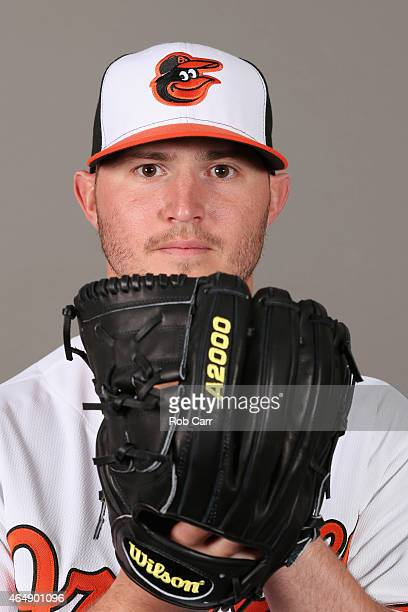 Pitcher Zach Britton of the Baltimore Orioles poses on photo day at Ed Smith Stadium on March 1 2015 in Sarasota Florida