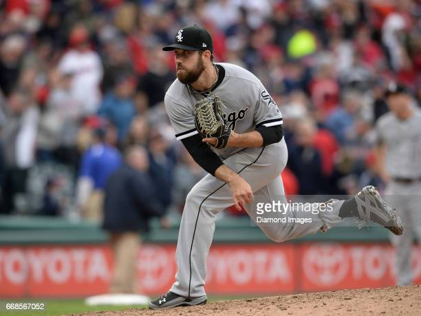 Pitcher Zach Putnam of the Chicago White Sox throws a pitch during a game on April 11 2017 against the Cleveland Indians at Progressive Field in...
