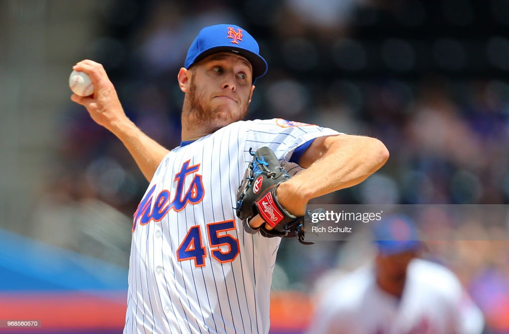 Pitcher Zach Wheeler #45 of the New York Mets delivers a pitch during the first inninng of a game against the Baltimore Orioles at Citi Field on June 6, 2018 in the Flushing neighborhood of the Queens borough of New York City.