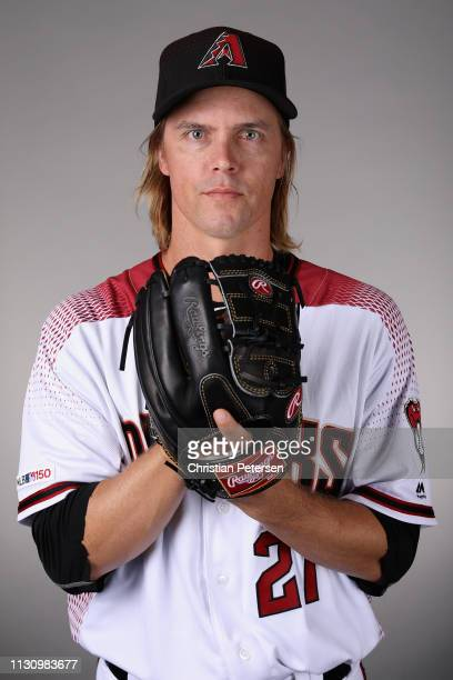 Pitcher Zack Greinke of the Arizona Diamondbacks poses for a portrait during photo day at Salt River Fields at Talking Stick on February 20 2019 in...