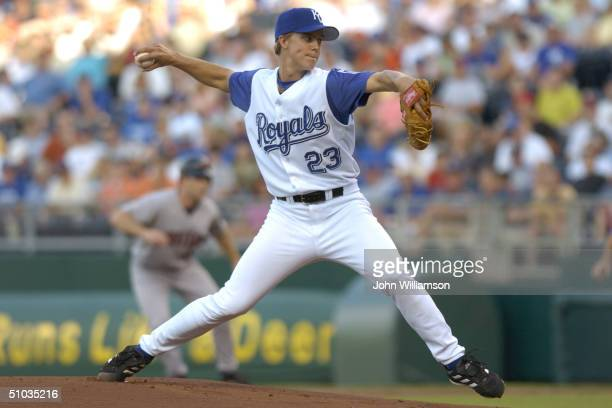 Pitcher Zack Greinke of the Kansas City Royals delivers against the Minnesota Twins during the game at Kauffman Stadium on May 28 2004 in Kansas City...