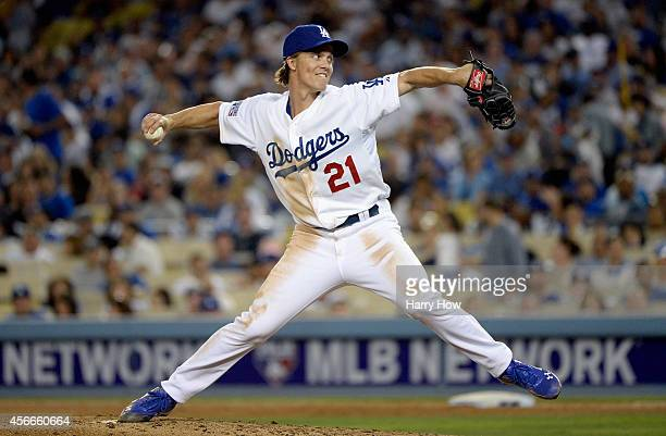 Pitcher Zack Greinke of the Los Angeles Dodgers throws against the St Louis Cardinals in the sixth inning of Game Two of the National League Division...