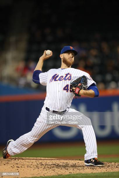Pitcher Zack Wheeler of the New York Mets pitching during the San Francisco Giants Vs New York Mets regular season MLB game at Citi Field on May 09...