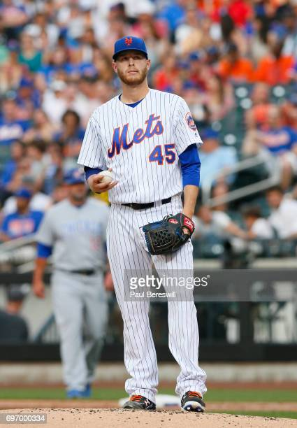 Pitcher Zack Wheeler of the New York Mets reacts in an MLB baseball game against the Chicago Cubs on June 13 2017 at CitiField in the Queens borough...