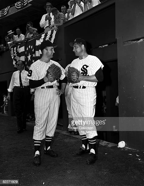 Pitchers Billy Pierce and Early Wynn of the Chicago White Sox share a conversation prior to the MLB AllStar Game on July 8 1958 at Memorial Stadium...