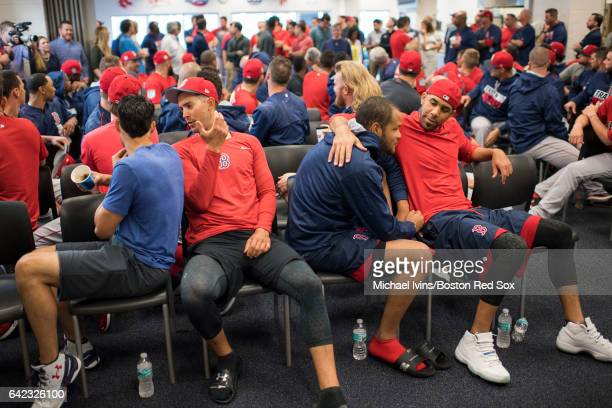 Pitchers Joe Kelly Rick Porcello Eduardo Rodriguez and David Price sit in the front row before the start of a team meeting on February 17 2017 at...
