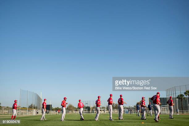 Pitchers of the Boston Red Sox warm up during a team workout on February 16 2018 at Fenway South in Fort Myers Florida