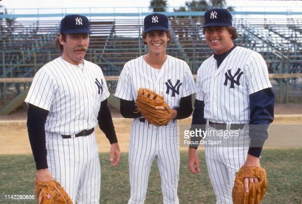 Pitchers Sparky Lyle, Rawly Eastwick and Rich Gossage of the New York Yankees smiles in this portrait during Major League Baseball spring training...