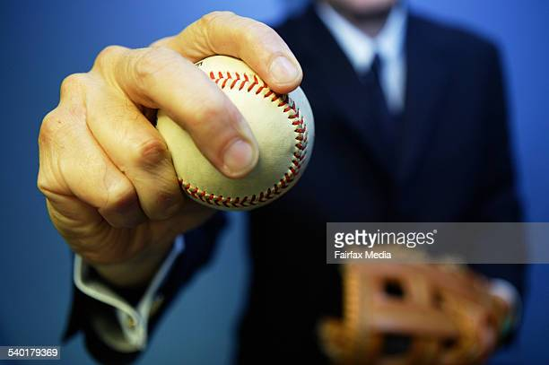 Pitching a business idea A businessman holds a soft ball AFR Picture by LOUIE DOUVIS