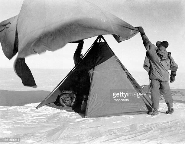 Pitching a double tent on the polar march taken during the last tragic voyage to Antarctica by Captain Robert Falcon Scott and his crew among them...