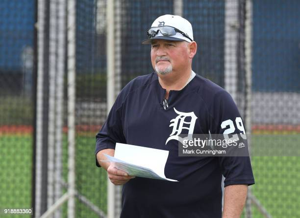 Pitching Coach Chris Bosio of the Detroit Tigers looks on during Spring Training workouts at the TigerTown Facility on February 14 2018 in Lakeland...