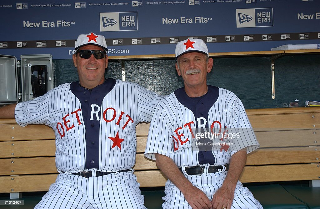 Pitching Coach Chuck Hernandez and Manager Jim Leyland of the Detroit Tigers sit in their Detroit Stars Negro League Uniforms prior to the game against the Kansas City Royals at Comerica Park in Detroit Michigan on July 15, 2006. The Tigers defeated the Royals, 6-0.