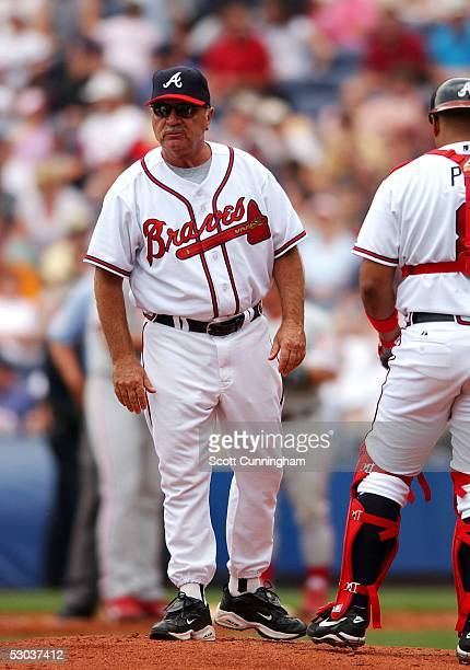 Pitching Coach Leo Mazzone of the Atlanta Braves makes a trip to the mound against the Philadelphia Phillies at Turner Field on May 28, 2005 in...