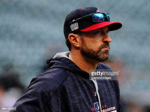 Pitching coach Mickey Callaway of the Cleveland Indians stands on the field prior to Game 6 of the World Series against the Chicago Cubs on November...