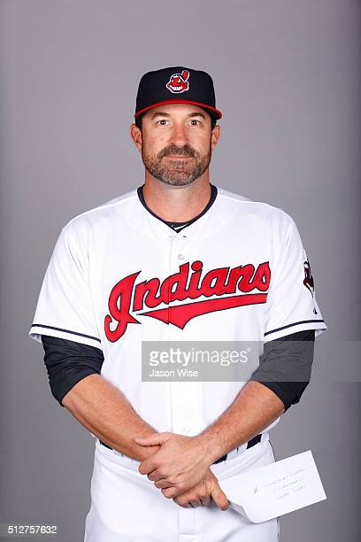 Pitching coach Mickey Callaway of the Indians poses during Photo Day on Saturday February 27 2016 at Goodyear Ballpark in Goodyear Arizona