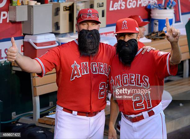 Pitching coach Mike Butcher and bench coach Dino Ebel of the Los Angeles Angels of Anaheim pose wearing fake Matt Shoemaker beards before the game...