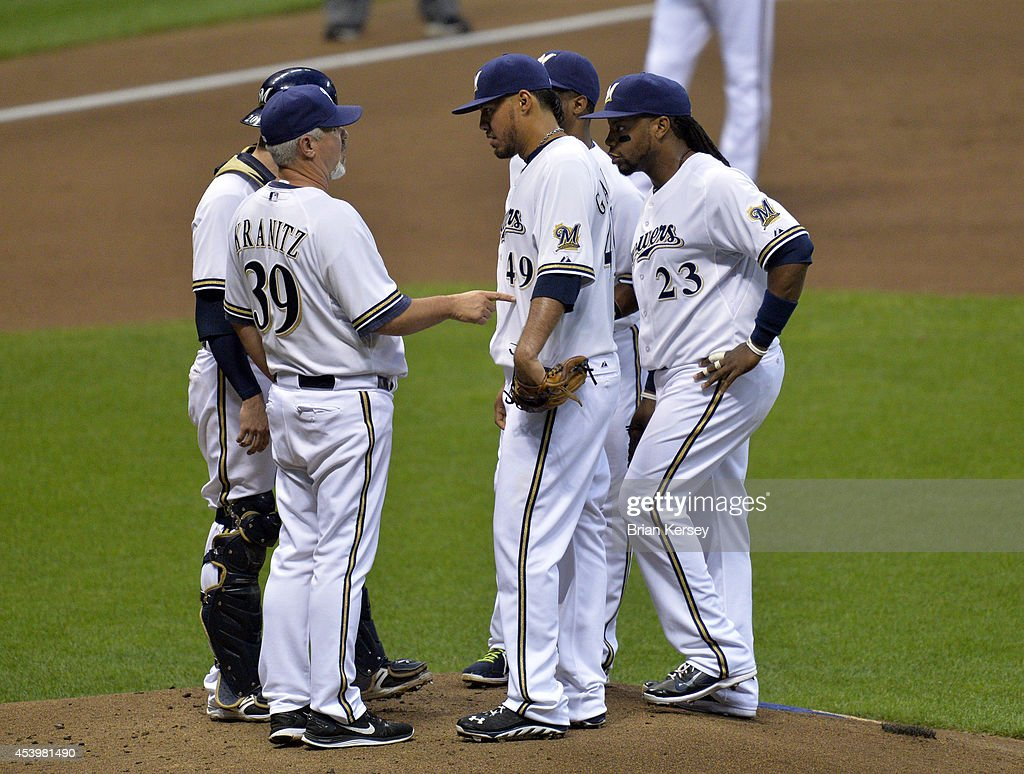 Pitching coach Rick Kranitz #39 of the Milwaukee Brewers (L) talks with starting pitcher Yovani Gallardo #49 as he stands on the mound with second baseman Rickie Weeks #23 catcher Jonathan Lucroy #20 (L) and shortstop Jean Segura #9 during the second inning against the Pittsburgh Pirates at Miller Park on August 22, 2014 in Milwaukee, Wisconsin.