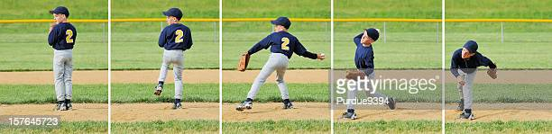 pitching sequence for young male little league baseball pitcher - sequential series stock pictures, royalty-free photos & images