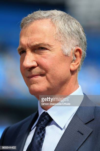 Pitchside pundit Graeme Souness looks on during the Premier League match between Manchester City and Huddersfield Town at the Etihad Stadium on May 6...