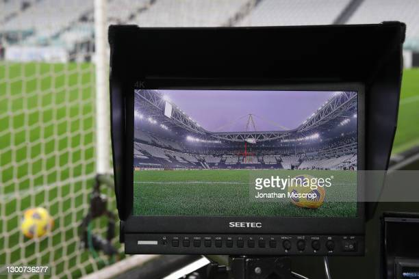 Pitchside television camera monitor shows a Nike official matchball during the Serie A match between Juventus and AS Roma at Allianz Stadium on...