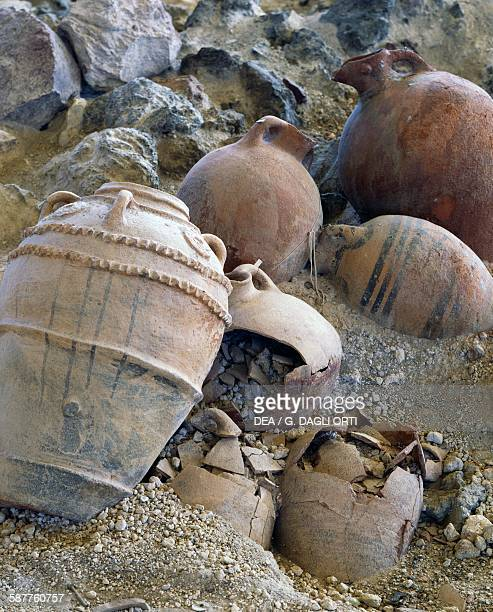 Pithoi and amphorae in the archaeological site of Akrotiri Santorini island Greece Greek civilisation 20th17th century BC