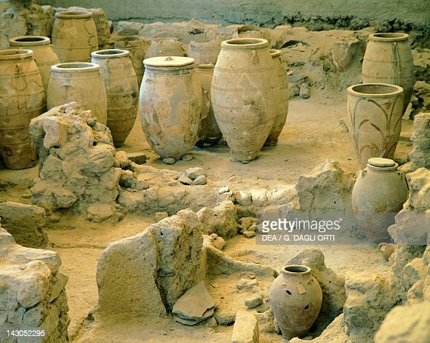 Pithoi and jars unearthed at the archaeological site of Akrotiri on Thera now Santorini Greece Minoan civilization 16th Century BC
