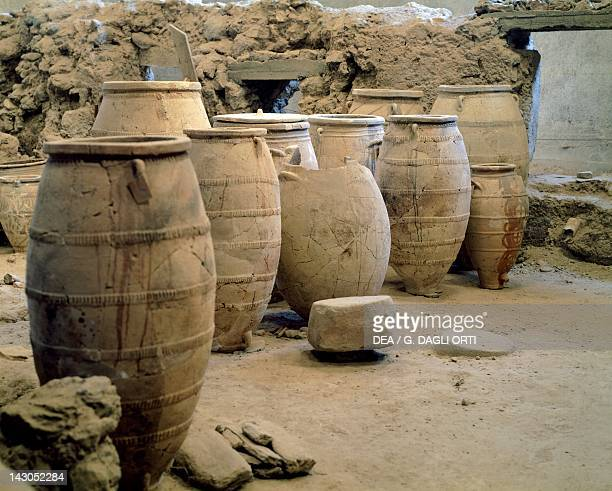 Pithoi unearthed at the archaeological site of Akrotiri on Thera now Santorini Greece Minoan civilization 16th Century BC