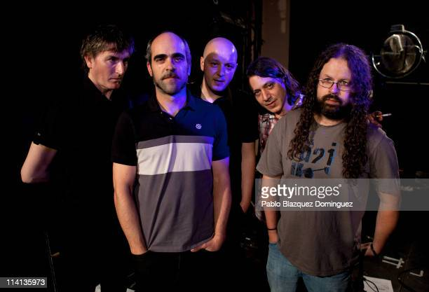 Piti Sanz Luis Tosar Roberto Munoz Suso Alonso and Ivan Laxe of 'Di Elas' pose for a portrait at Sala Caracol on May 12 2011 in Madrid Spain
