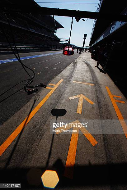 Pitlane markings are seen outside the Ferrari garage during day two of Formula One winter testing at the Circuit de Catalunya on March 2 2012 in...