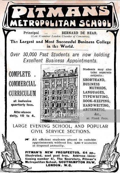 Pitman's Metropolitan School 1906 An advert for 'Pitman's Metropolitan School London From The Tatler Volume 21 [The Tatler London 1906]
