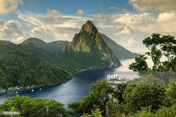 piton view - saint lucia - caribbean stock pictures, royalty-free photos & images
