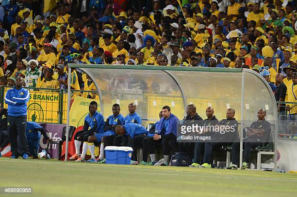 Pitso Mosimane Alex Bapela and Manqoba Mngqithi during the Absa Premiership match between Mamelodi Sundowns and Ajax Cape Town at Loftus Stadium on...