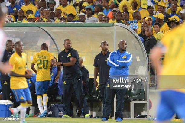 Pitso Mosimane Alex Bapela and Manqoba Mngqithi during the Absa Premiership match between Mamelodi Sundowns and Ajax Cape Town at Loftus Stadium on...