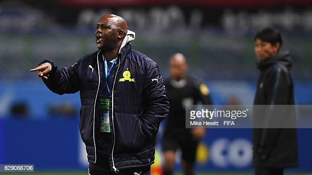 Pitso Mosimane Coach of Mamelodi Sundowns gives instructions during the FIFA Club World Cup second round match between Mamelodi Sundowns and Kashima...