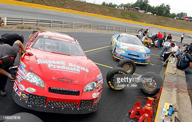 Pitt crew work on VSI Racing/Russell Stone Productions Chevrolet and Window World/DelGrosso Chevrolet during the NASCAR KN Pro Series East Samuel 150...