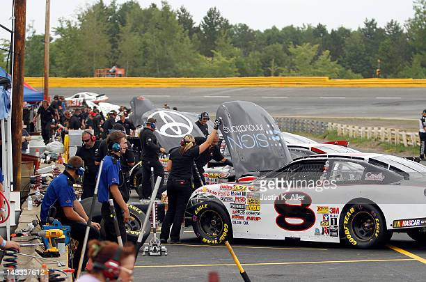 Pitt crews work during practice at the NASCAR KN Pro Series East Samuel 150 on July 14 2012 at CNB Bank Raceway Park in Clearfield Pennsylvania
