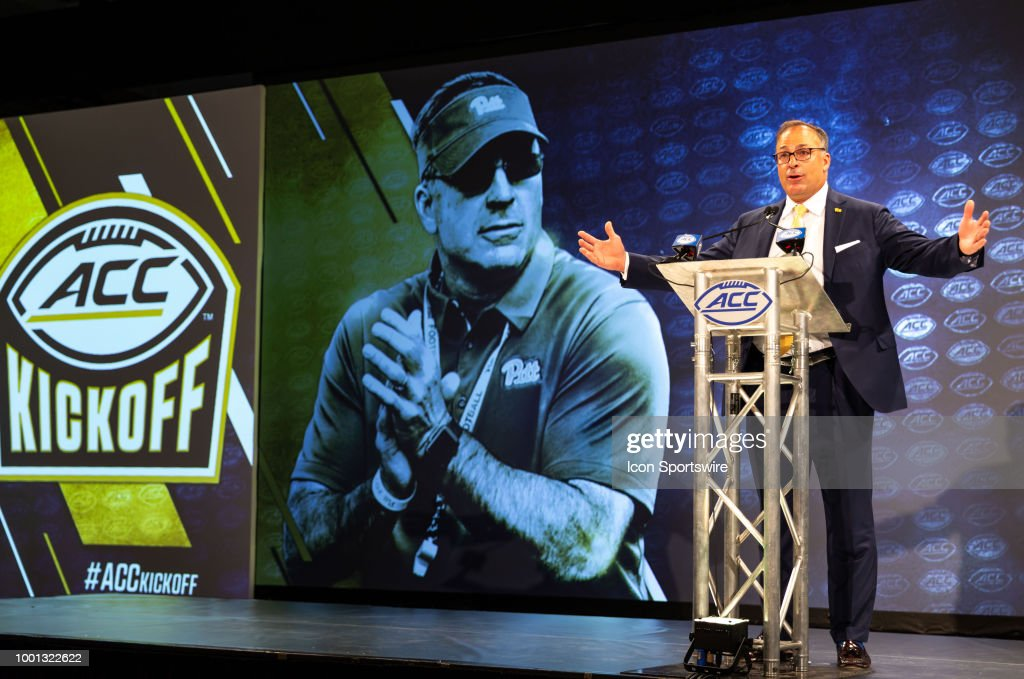 Pitt Panthers head coach Pat Narduzzi addresses the media during the ACC Football Kickoff on July 18, 2018, at The Westin Charlotte in Charlotte, NC.